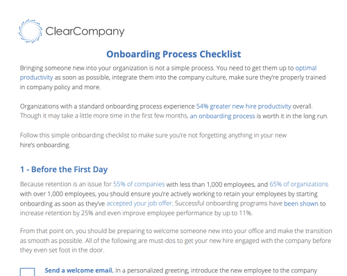 employee onboarding process checklist