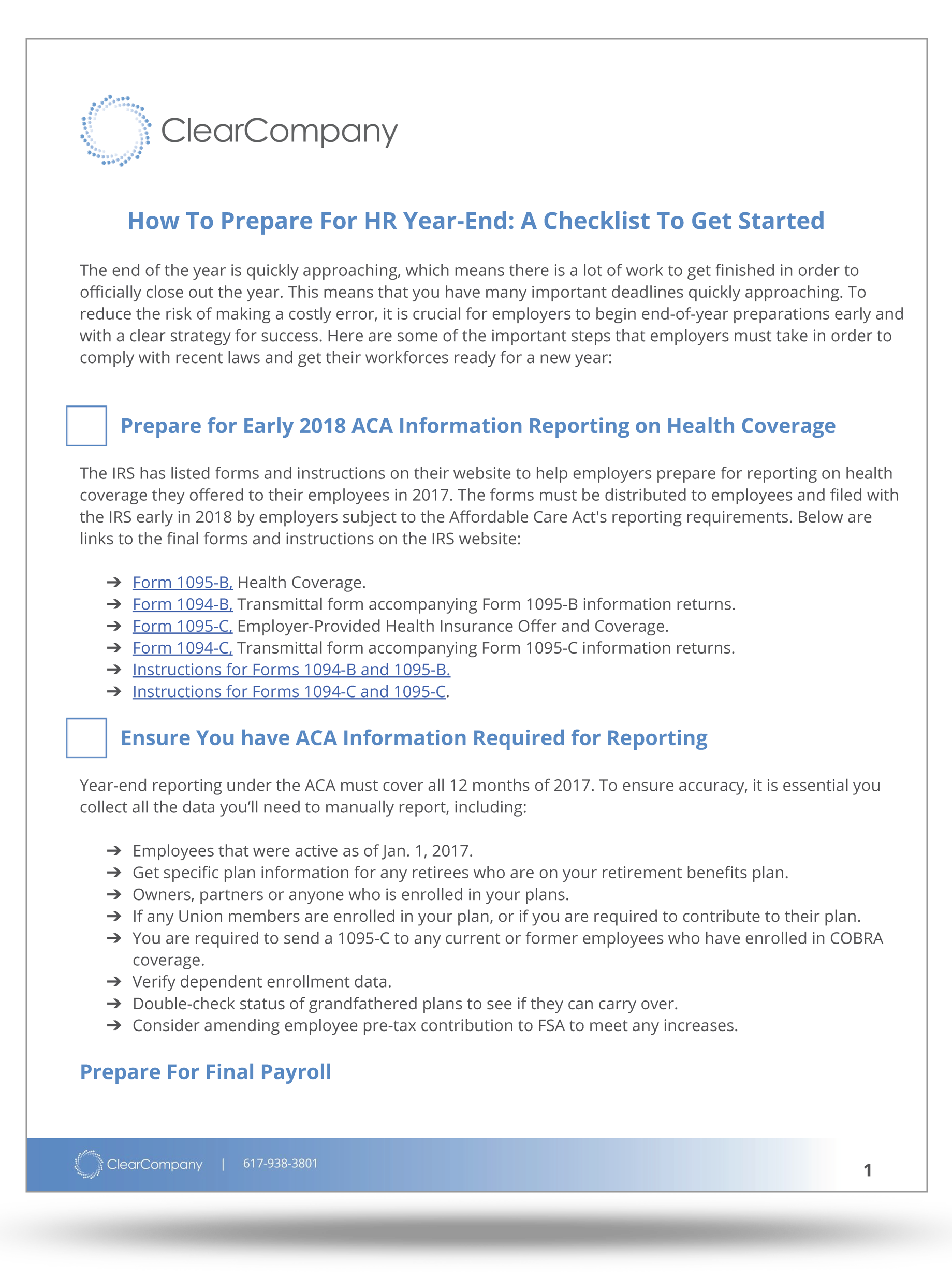 Hr checklist for end of year clearcompany this checklist includes falaconquin